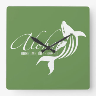 Hawaii Whale Aloha Square Wall Clock