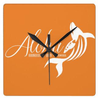 Hawaii Whale Square Wall Clock