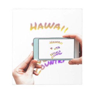 Hawaii world city, cellular phone notepad