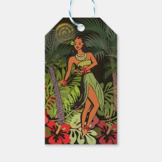 Hawaiian Aloha Floral Hula Art Print Gift Tags