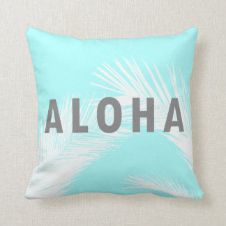 Hawaiian Aloha Grey Typography Palm Trees  Blue Throw Pillow
