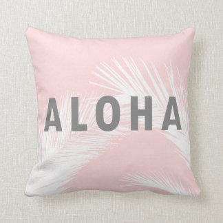 Hawaiian Aloha Grey Typography Palm Trees  Pink Throw Pillow