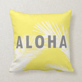 Hawaiian Aloha Grey Typography Palm Trees  Yellow Throw Pillow