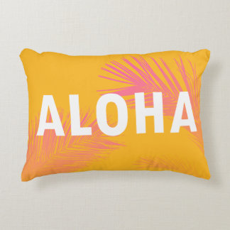 Hawaiian Aloha Typography Palm Leaves Modern Accent Pillow