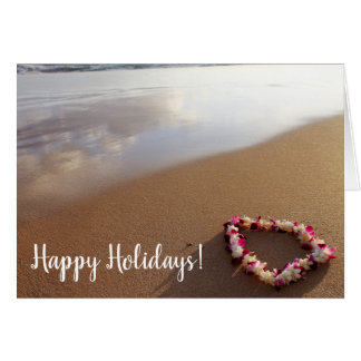 Hawaiian Beach Lei & Sand Christmas Card
