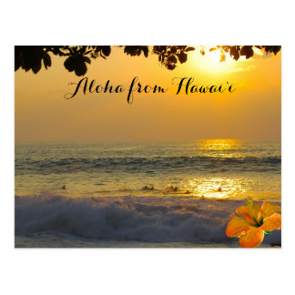 Hawaiian Beach Sunset Gold Postcard