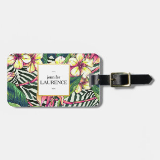 Hawaiian Bold Plumeria Bright Floral Personalized Luggage Tag