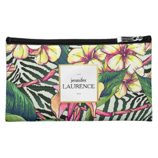 Hawaiian Bold Plumeria Floral Personalized Makeup Bags