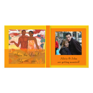 Hawaiian Boy & Girl Save The Date Photocard Customized Photo Card