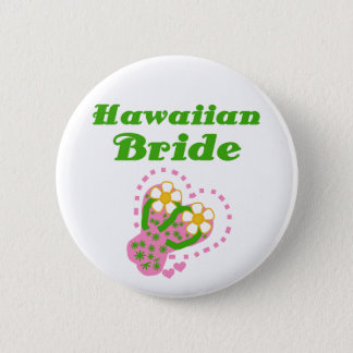 Hawaiian Bride 2 Inch Round Button