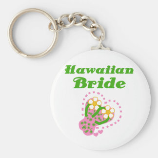 Hawaiian Bride Basic Round Button Keychain