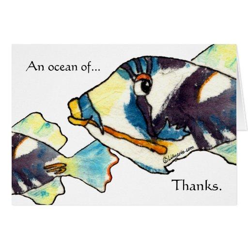 Hawaiian Cartoon Fish Thank You Cards Zazzle