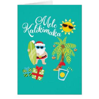 Hawaiian Christmas. Santa Claus  Mele Kalikimaka. Card