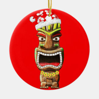 Hawaiian Christmas Santa Tiki Ceramic Ornament