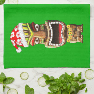 Hawaiian Christmas Santa Tiki Kitchen Towel