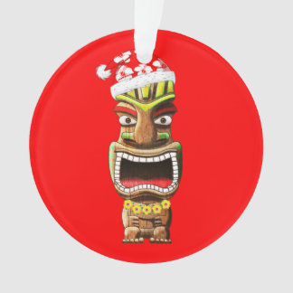 Hawaiian Christmas Santa Tiki Ornament