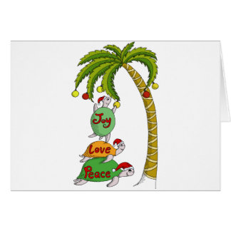 Hawaiian Christmas Turtle Santas Card