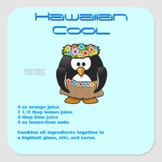 Hawaiian Cool Drink Recipe Square Sticker