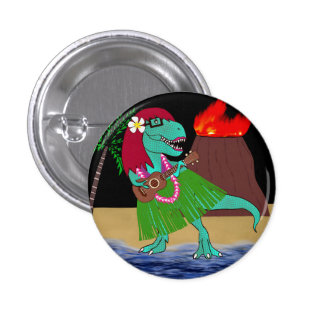 Hawaiian Dinosaur Ukulele 1 Inch Round Button