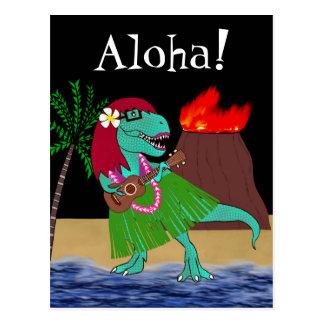 Hawaiian Dinosaur Ukulele Postcard