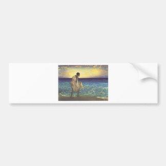 Hawaiian Fisherman, woodblock print Bumper Sticker