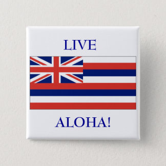 Hawaiian flag, LIVE, ALOHA! BUTTON