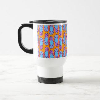 Hawaiian Flip Flops in Blue & Orange 15 Oz Stainless Steel Travel Mug