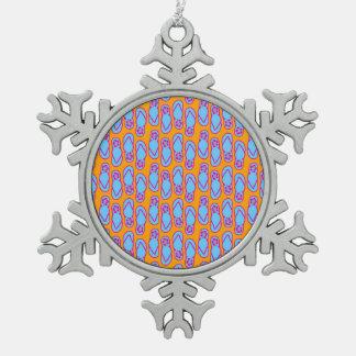 Hawaiian Flip Flops in Blue & Orange Pewter Snowflake Ornament