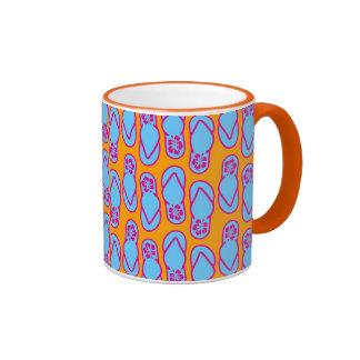Hawaiian Flip Flops in Blue & Orange Ringer Coffee Mug