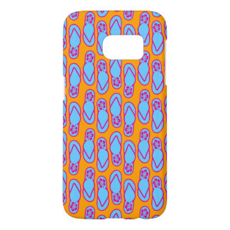 Hawaiian Flip Flops in Blue & Orange Samsung Galaxy S7 Case