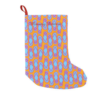 Hawaiian Flip Flops in Blue & Orange Small Christmas Stocking