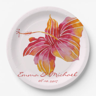 Hawaiian Floral Personalized Paper Plates