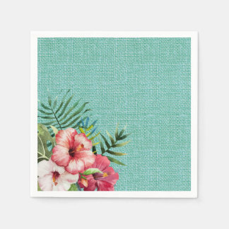 Hawaiian Flower and Turquoise Textured Background Paper Napkins