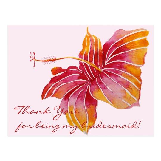 Hawaiian Flower Bridesmaid Thank You Postcard