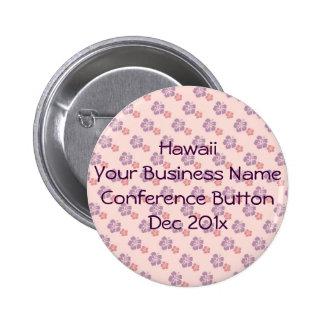 Hawaiian flower pink and purple 2 inch round button