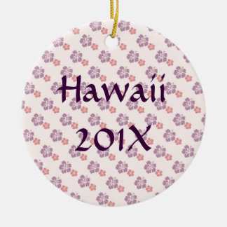 Hawaiian flower pink and purple ceramic ornament