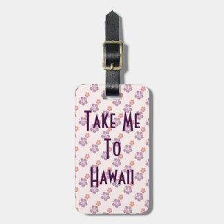 Hawaiian flower pink and purple luggage tag