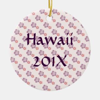 Hawaiian flower pink and purple round ceramic ornament