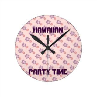 Hawaiian flower pink and purple round clock