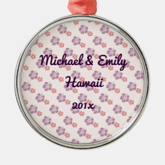 Hawaiian flower pink and purple Silver-Colored round ornament