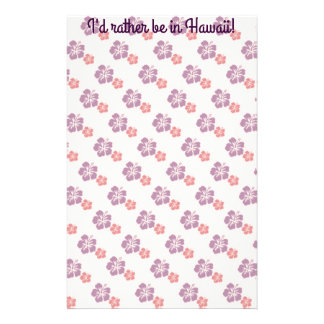 Hawaiian flower pink and purple stationery