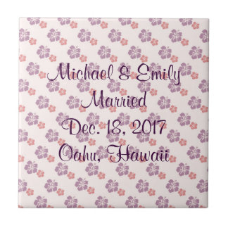 Hawaiian flower pink and purple tile