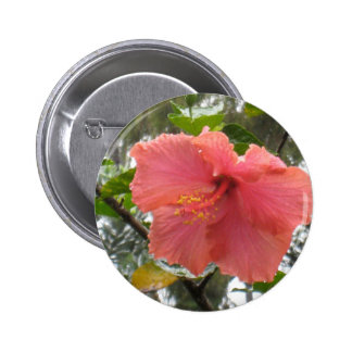 Hawaiian Flower Round Button