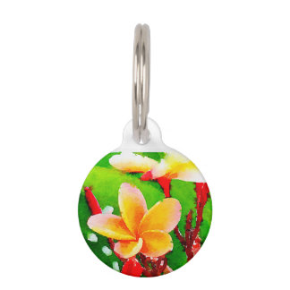 Hawaiian Flower Small metal pet tag
