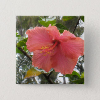 Hawaiian Flower Square Button