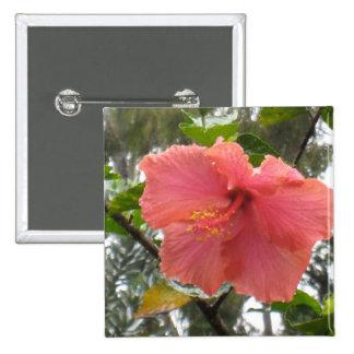 Hawaiian Flower Square Button