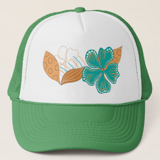 hawaiian flower trucker hat