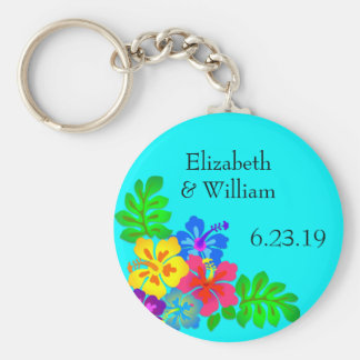 Hawaiian Flowers Aqua Wedding Favor Basic Round Button Keychain