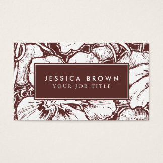 Hawaiian flowers line art Custom Business Card