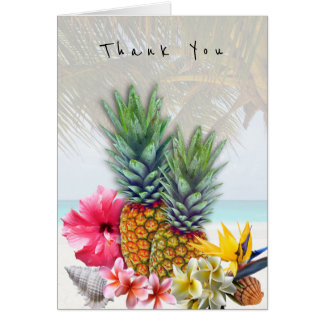 Hawaiian Flowers Pineapples Seashells Thank You Card